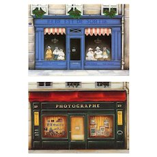 Paris Store Front Postcards by Fernando de Cunha c1980s Unused