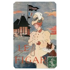 Le Figaro French Bulldog Illustrated Newspaper Postcard 1908