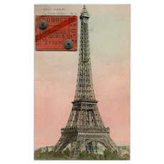 Eiffel Tower Postcard with 1919 Summit Ticket Attached