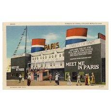 Meet Me in Paris Chicago World's Fair Curt Teich Postcard Unused