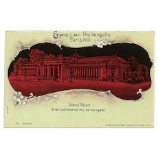 Grand Palais in Red Paris 1900 Expo Unused Postcard