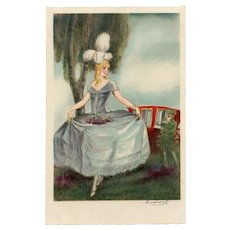 Artist Signed Art Deco Italian Postcard Lady in Blue