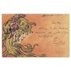 Art Nouveau Beauty by Belgian Belle Epoque Artist Henri Meunier