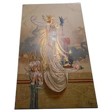 Art Nouveau Beauty with Gold Overlay by Hingre Unused Postcard