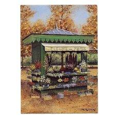 Fleurs de Paris Kiosk by André Renoux Artist Signed Postcard Unused