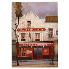 Maison Catherine Paris Restaurant Artist Signed André Renoux Unused Vintage Postcard