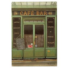 Paris Cafe Bar by French Painter André Renoux Unused Vintage Postcard