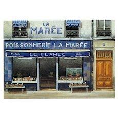Paris Fish Shop Vintage Postcard by French Painter André Renoux