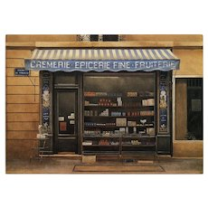 Gourmet Food Shop Paris Storefront Postcard by French Painter André Renoux