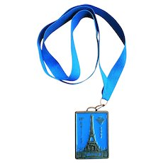 French Air Force Marathon Medal Ribbon Necklace Souvenir with Eiffel Tower