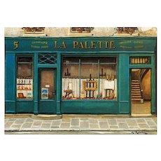 La Palette Artist Shop by French Painter André Renoux Vintage Unused Postcard
