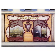 Art Nouveau Champagne Storefront Vintage Paris Postcard
