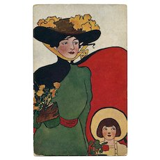 MacFarlane Art Nouveau Unused Postcard Caped Lady and Child