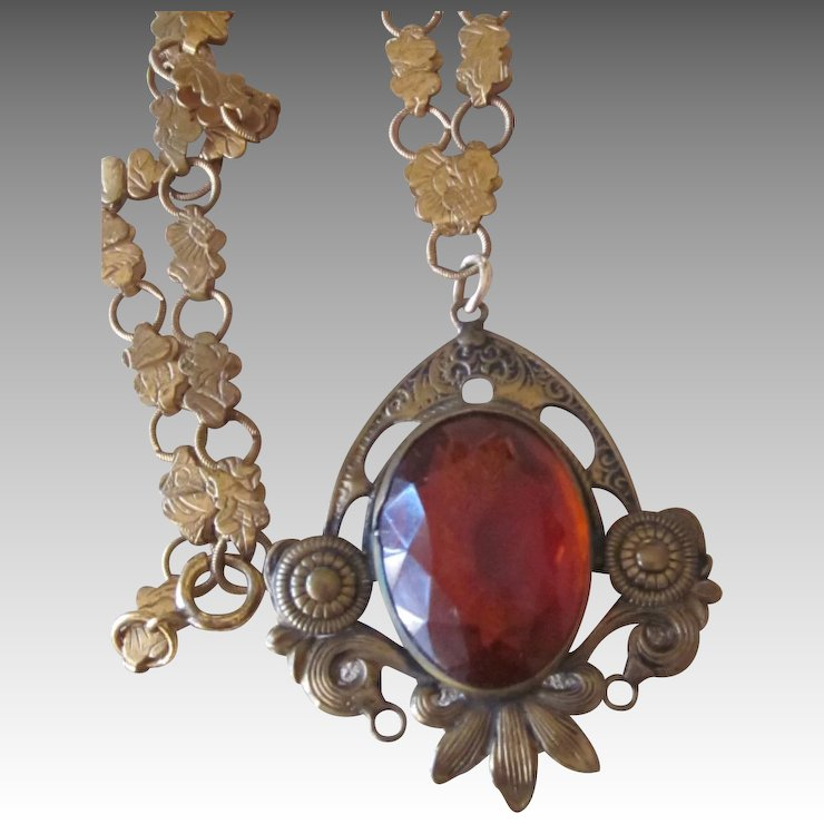 Spectacular Victorian Pendant On Ornate Chain Runway Vintage