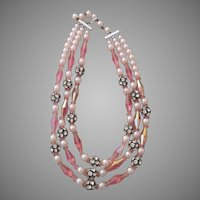 Three stand vintage glass beaded and roundels necklace