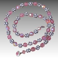 Vintage Pink Crystal and Roundel Necklace