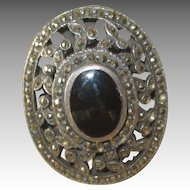 Huge Deco Sterling Onyx Marcasite Ring