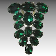 Huge Fur Clip Gorgeous Green Vintage