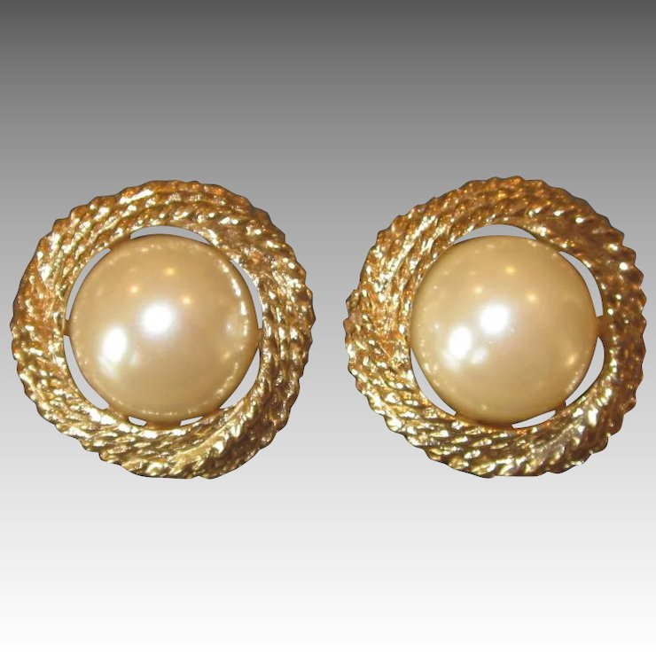 Donald Stannard Vintage Large Faux Pearl Earrings