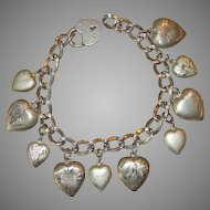 Puffy Heart Sterling Charm Bracelet with Heart Padlock Clasp