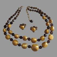 Jonne- Monumental Vintage Huge  Bakelite Necklace and Earrings