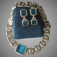 Monet- Signer Designer Intaglio Necklace and Earrings