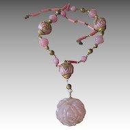 Czech Vintage Necklace Pretty Pink