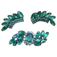 Large Rhinestone Brooch and Vintage Earrings