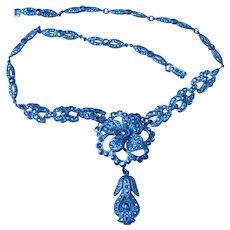 Czech Signed Marcasite Vintage Flower Pendant Necklace
