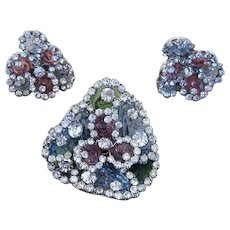 Vogue Jlry- Poured Glass Amazing Brooch and Earrings