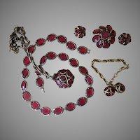 Trifari Renaissance Cranberry Vintage Grand Parure