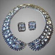 Extraordinary Collar Rhinestone Vintage Runway  Necklace and Earrings