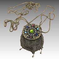 Victorian Jeweled Mesh  Pouch with Leather Inside and 64 Inch Chain