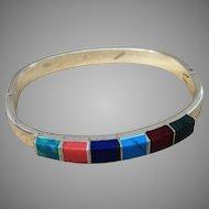 Sterling Vintage Bracelet with Inlaid Stones