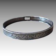 Sterling Silver Vintage Hand Forged Bangle Bracelet