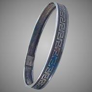 Sterling Silver  Vintage Greek Key Bangle Bracelet