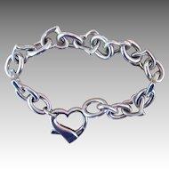 Sterling Heart Italy Vintage Heavy Bracelet