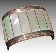 EL Gasper Huge Zuni Mother of Pearl and Sterling Vintage Cuff Bracelet