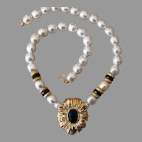 K.J.L. For Avon Vintage Striking Faux Pear and Onyx Necklace