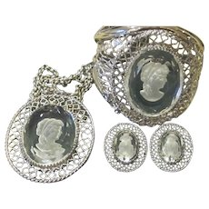 Whiting and Davis Rare Intaglio Cameo Cuff Bracelet, Necklace and Earrings Signed Vintage Parure