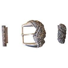 Judith Jack Sterling Marcasite Vintage Amazing Belt Buckle