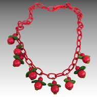 Celluloid Fabulous Vintage Cherry Necklace