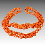 Celluloid Early Plastics 32 Inch Link Vintage Ring Link Necklace