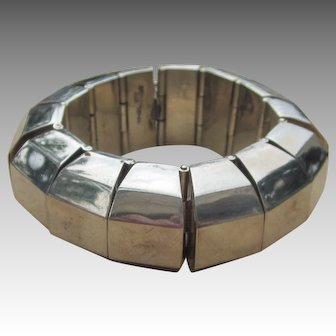 159 Grams Huge Modernist Vintage Taxco Mexican Sterling Bracelet