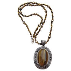 Sterling and Tiger Eye Huge Vintage Pendant Vintage Necklace