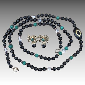Kai Yin Lo Amazing 37 inch Necklace and Earrings Vintage Signed Set