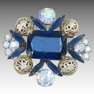 Juliana  Beautiful Blue Vintage Rhinestone Brooch