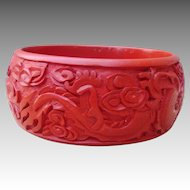 Carved Cinnabar Chunky Wide Vintage Bangle Bracelet