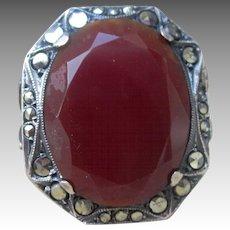 Carnelian Sterling Silver German Deco Marcasite Vintage Ring