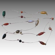 Sterling Silver and Agate Vintage Hand Made 62 Inch Fabulous Necklace
